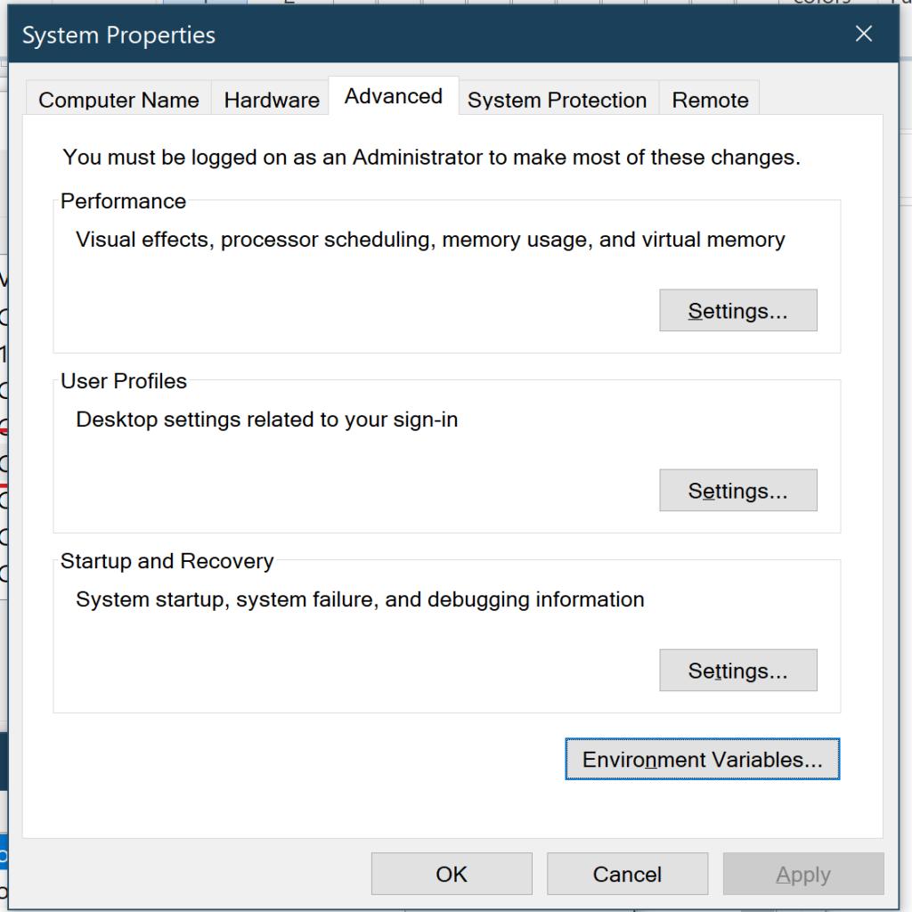 Windows Environment variable settins screen